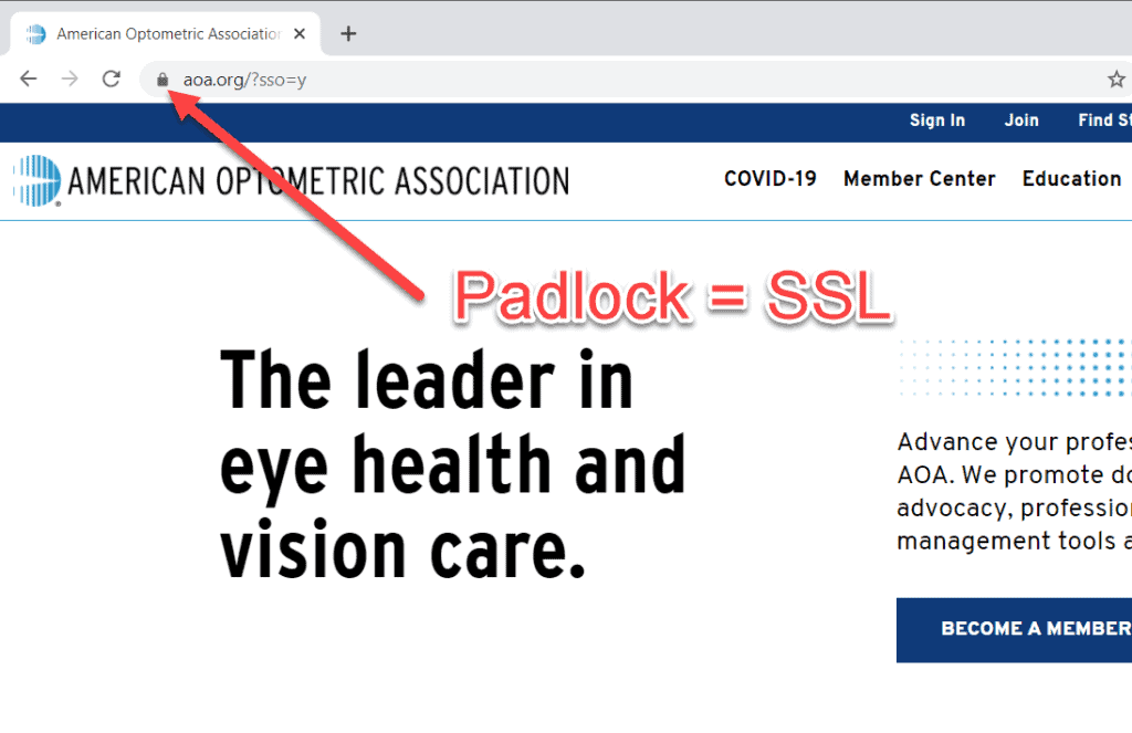 Screenshot of SSL Padlock